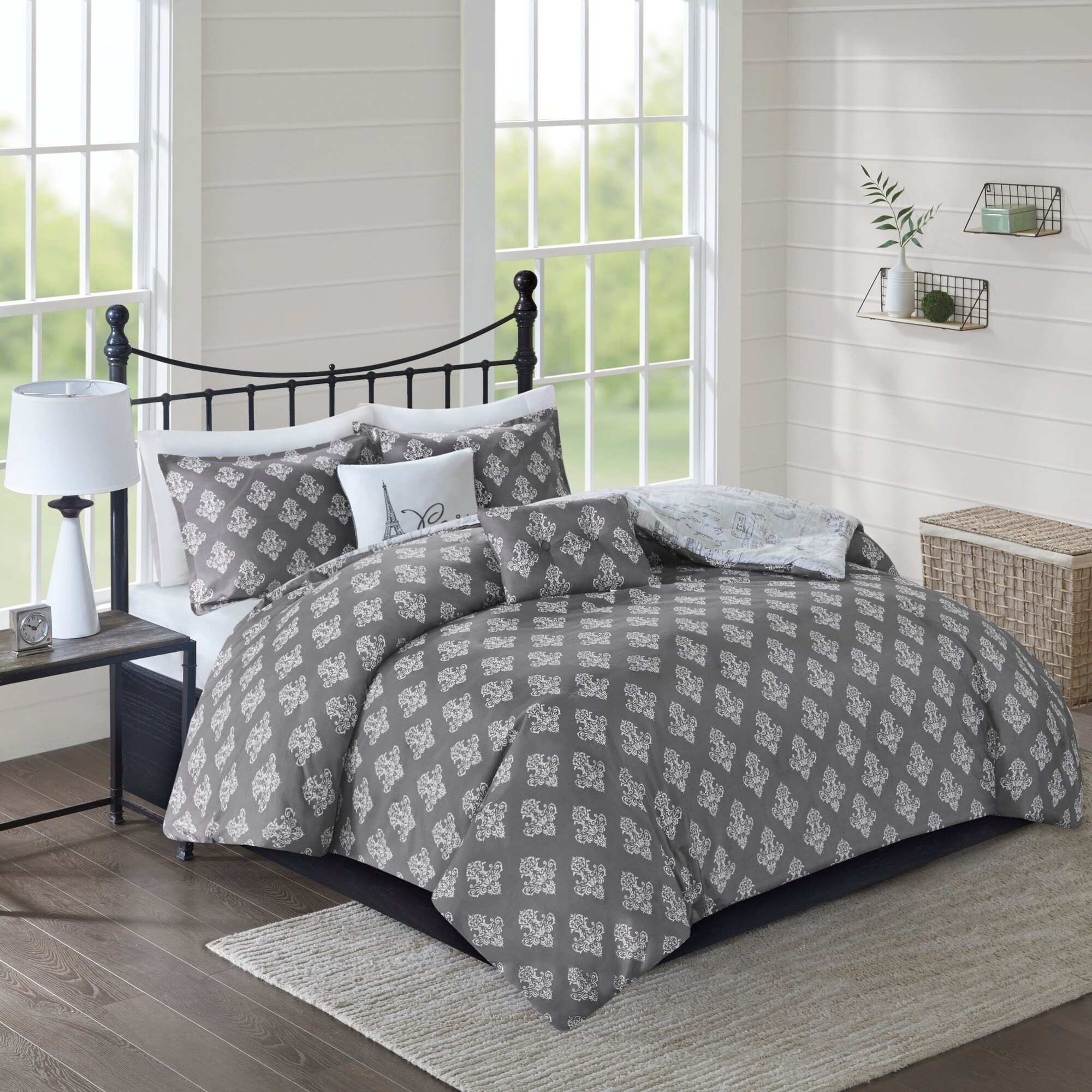 Paris themed Bedroom Ideas Unique 510 Design Mariam Grey Charcoal 5 Piece Reversible Paris Print Duvet Cover Set