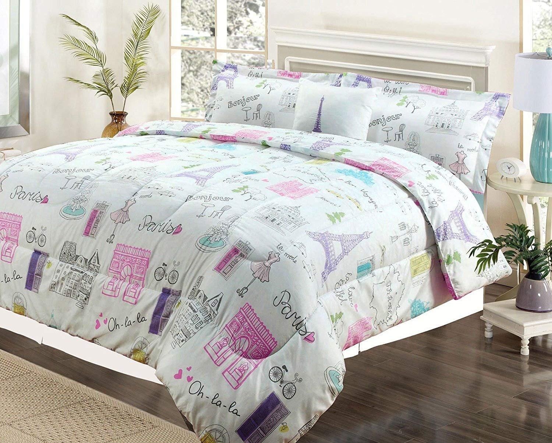 Paris themed Bedroom Set Elegant Howplumb Full 4 Pc Bedding Girls forter Bed Set Paris Eiffel tower Bonjour Pink Purple