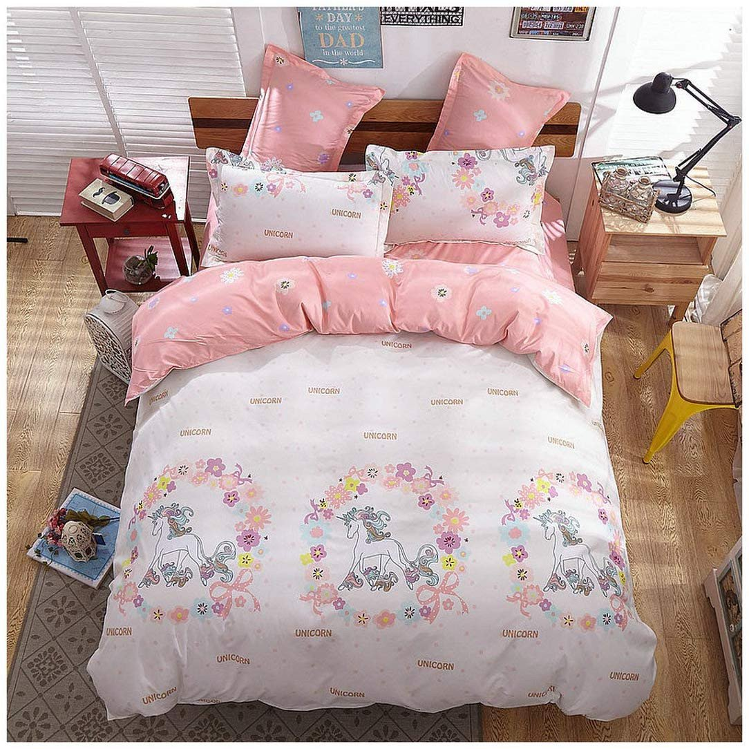 "Paris themed Bedroom Set Luxury Kfz Girls Magic Unicorn Bed Set [4pcs Full Size Bedding 70""x86"" Flat Sheet Duvet Cover 2 Pillow Cases No forter] Pink Princess Worthy theme"