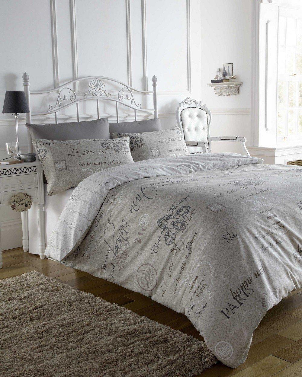 Paris themed Bedroom Set Luxury Script Beige French Text Print Super King Duvet Quilt Cover