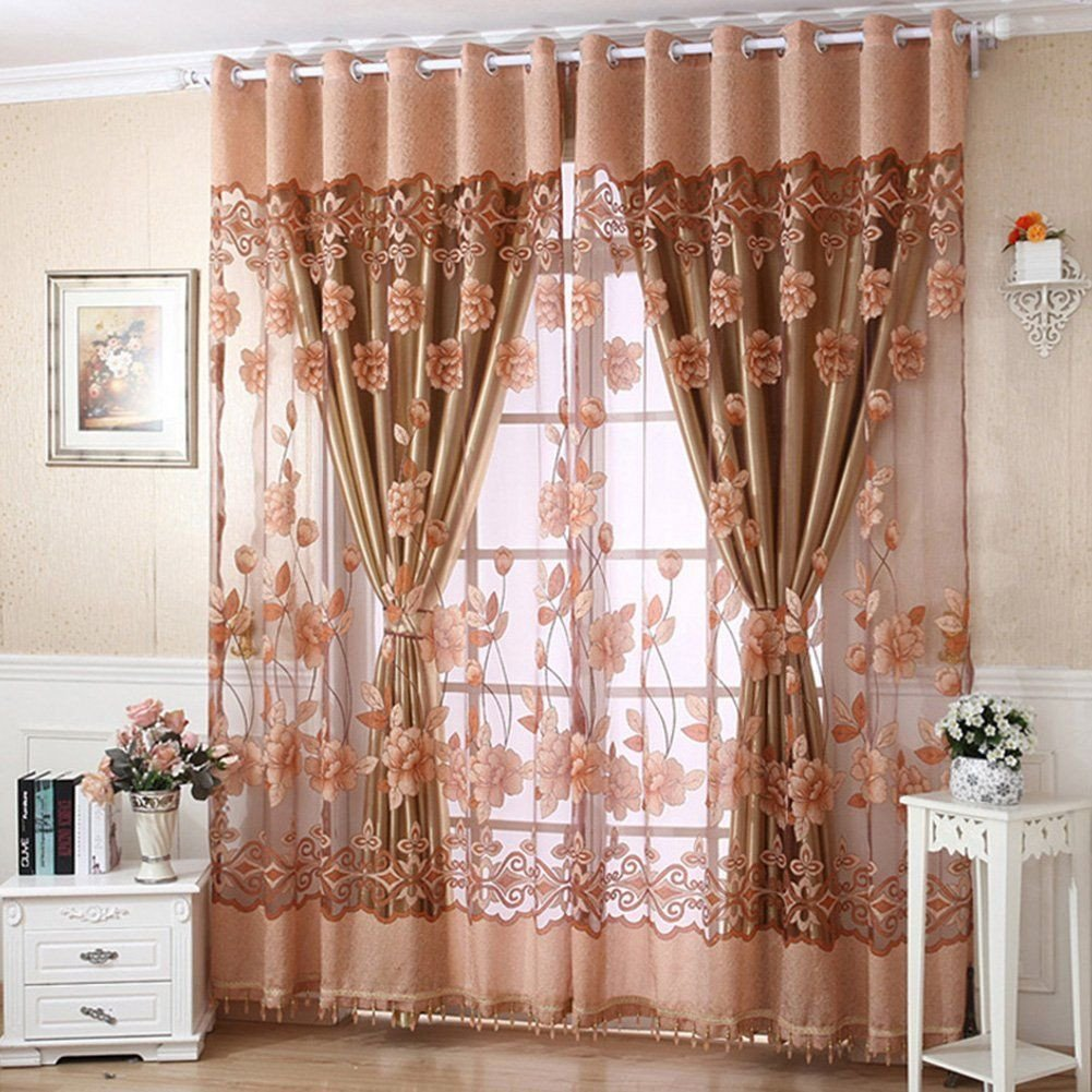 Peach Curtains for Bedroom Beautiful Amazon Molil Door Window Curtain Flower Tulle Drape