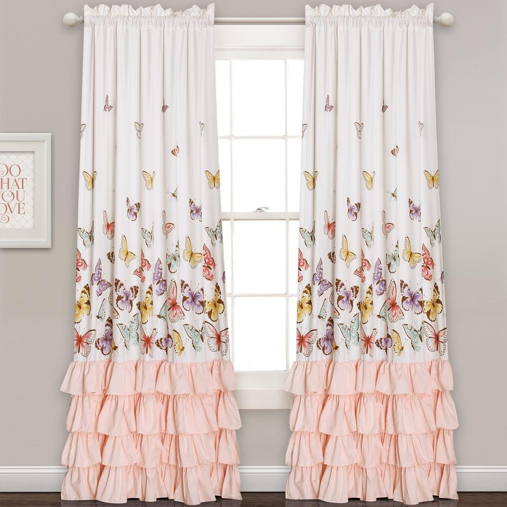 Peach Curtains for Bedroom Unique Lush Decor Flutter butterfly Juvy Window Panel Pink 84 In