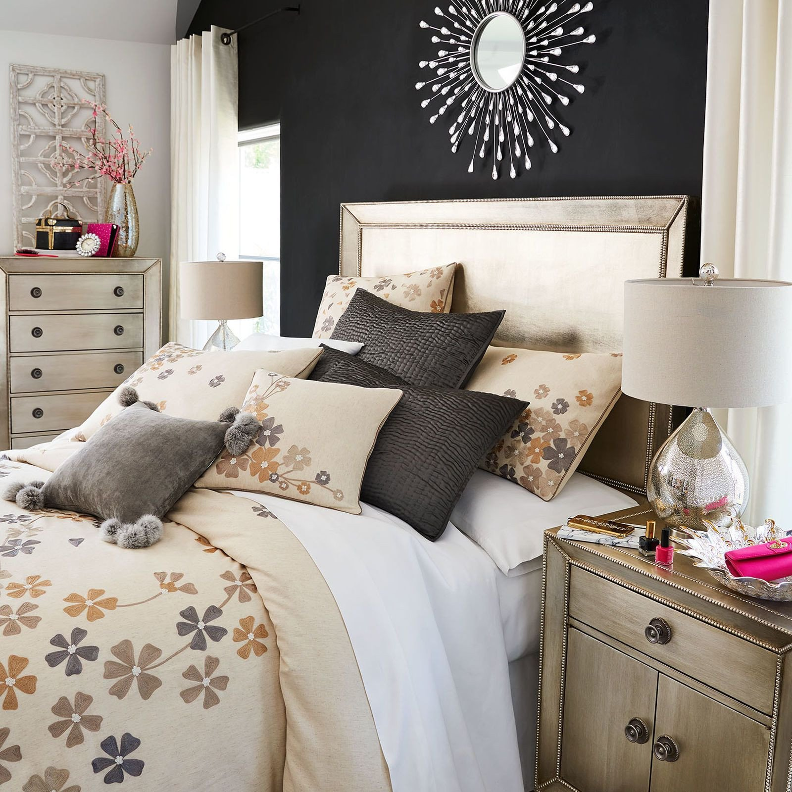 Pier One Bedroom Set New Celine Ii Queen Champagne Silverleaf Headboard