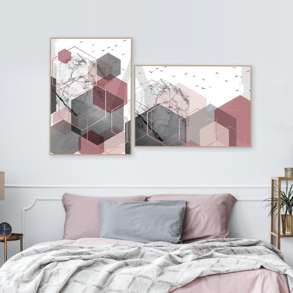 Pink and Gold Bedroom Set Elegant Set Of 2 Printable Blush Pink Grey Rose Gold Geometric Art