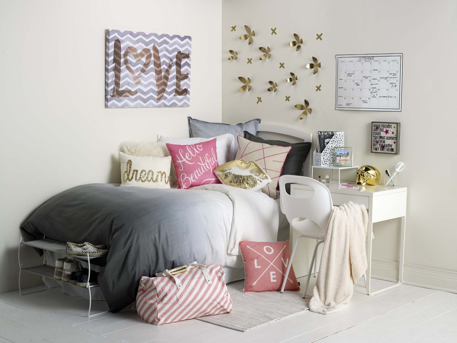 Pink and Grey Bedroom Beautiful Dorm Room Design Goes A Few Degrees Beyond the Milk Crate