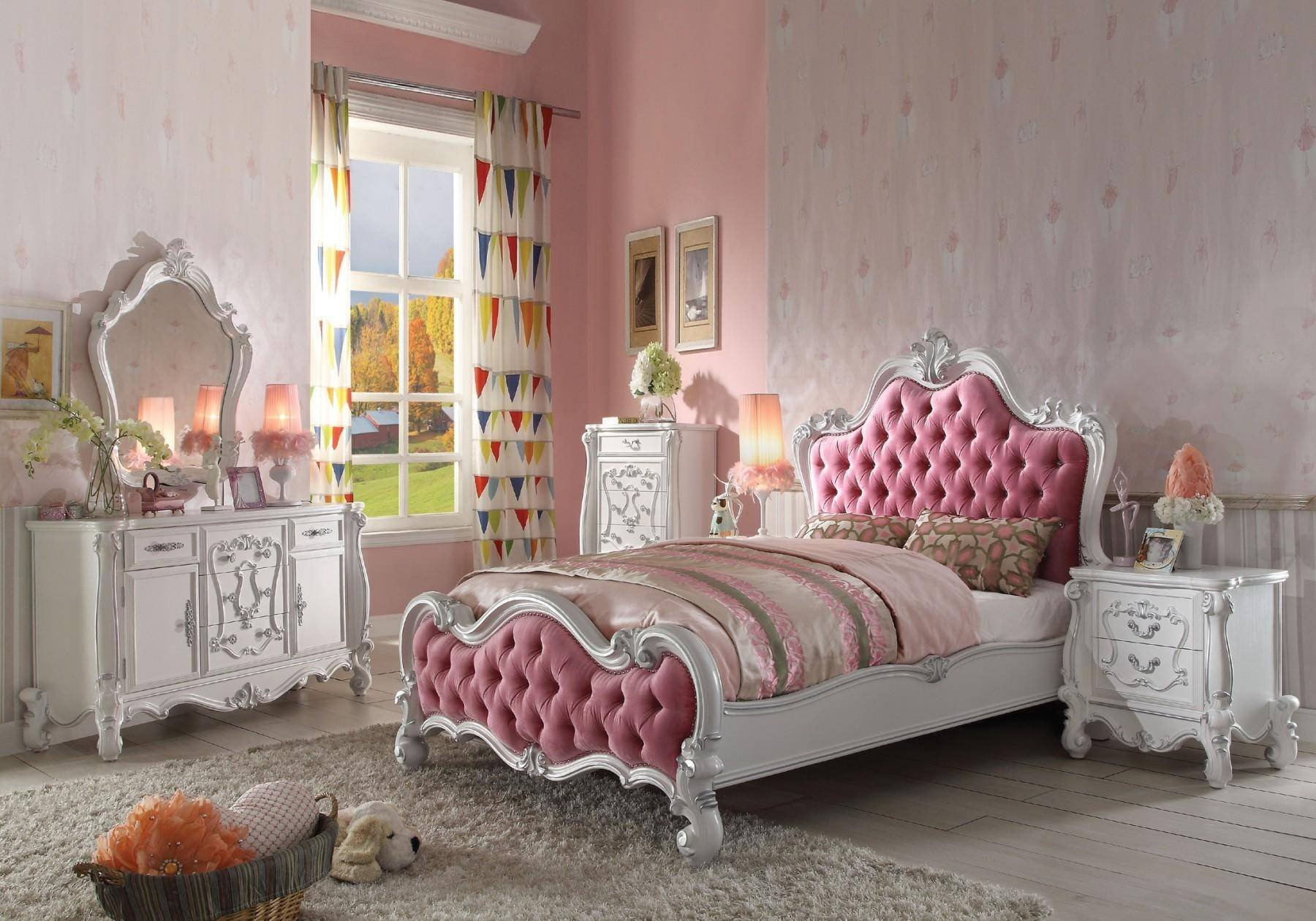 Pink and White Bedroom Lovely soflex Classic andria Kids Queen Bedroom Set 4pcs Antique