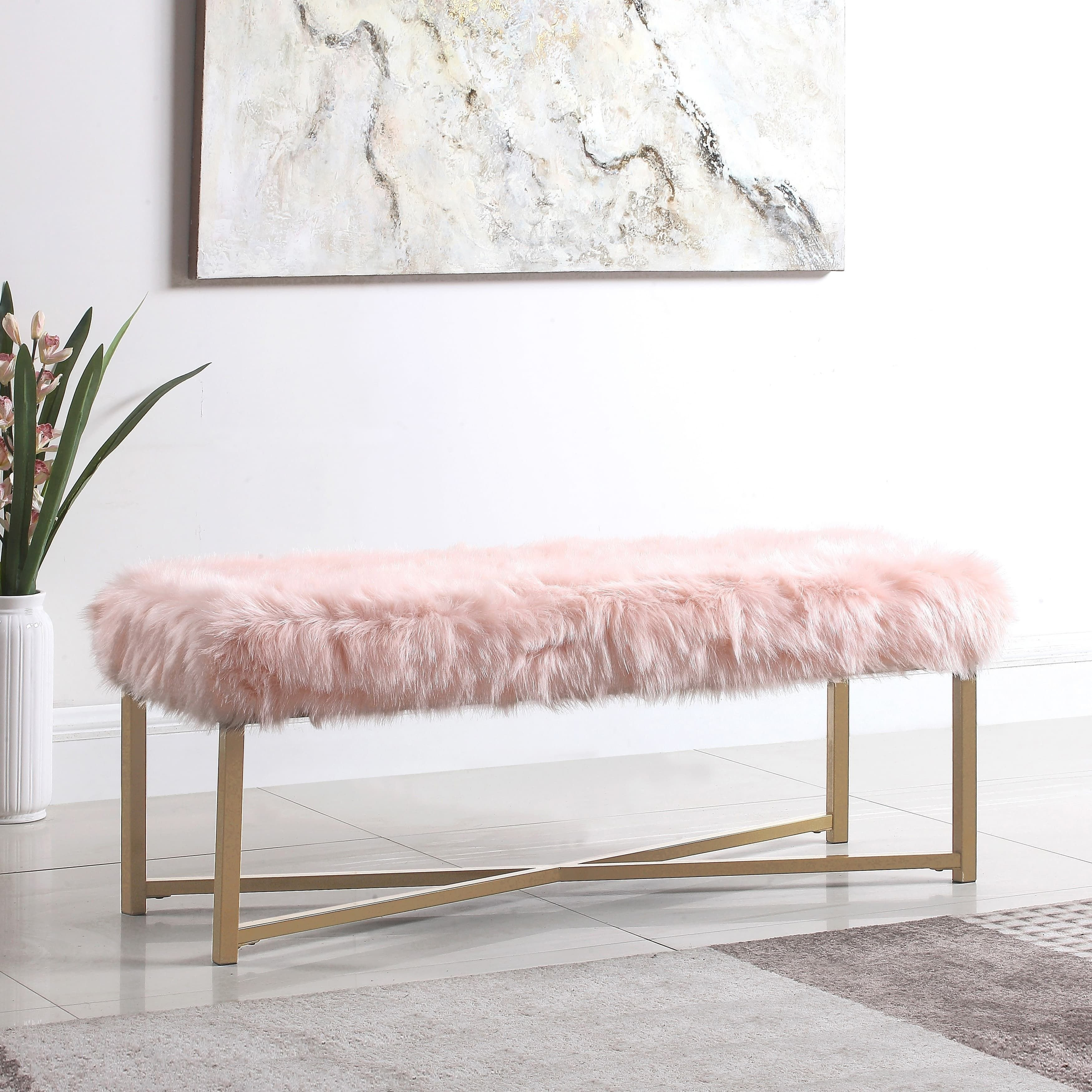 Pink Chair for Bedroom Inspirational Homepop Faux Fur Rectangle Bench Pink