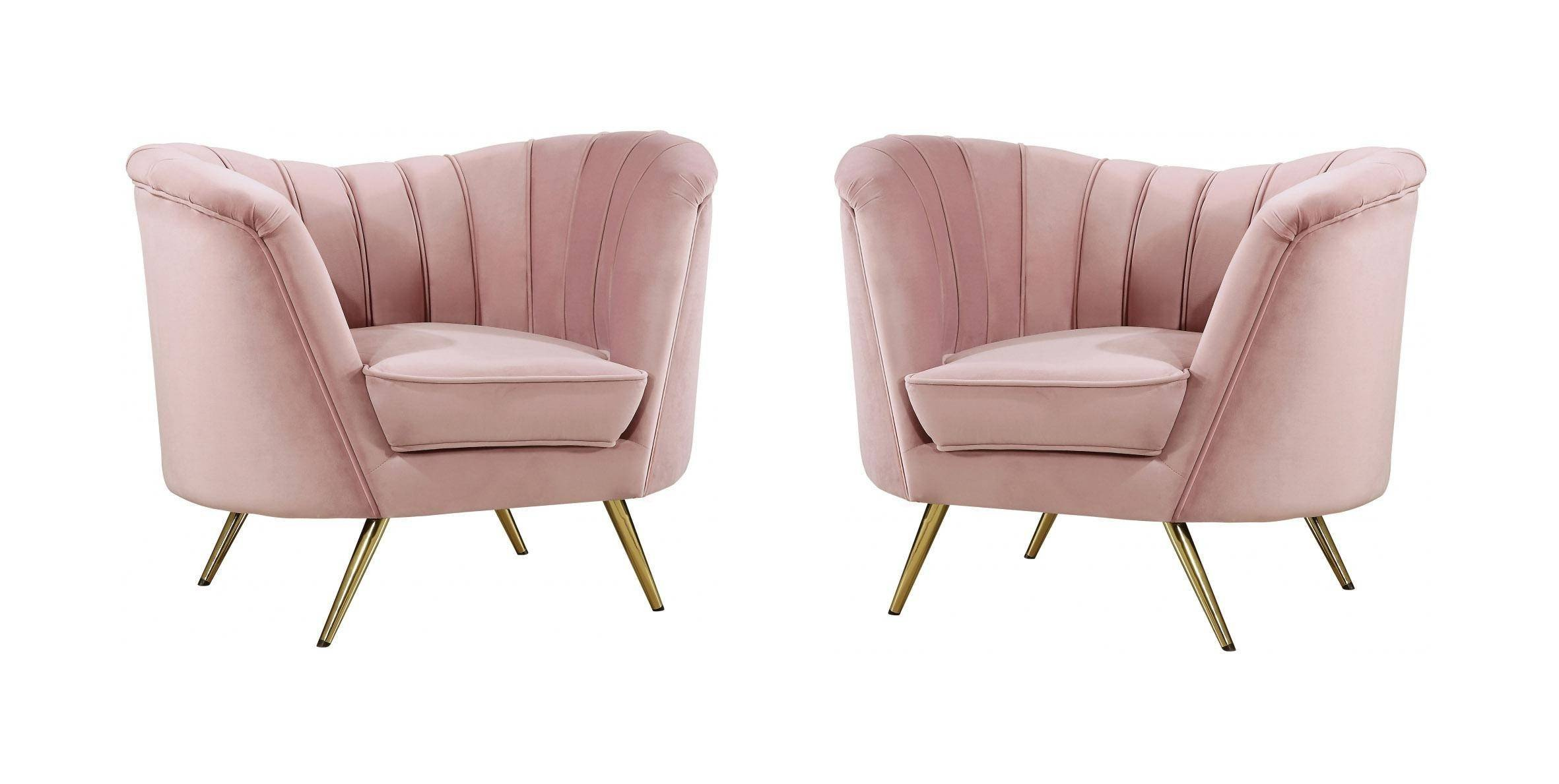 Pink Chair for Bedroom New Meridian Furniture Margo Pink Velvet Gold Stainless Legs Accent Chair Set Of 2
