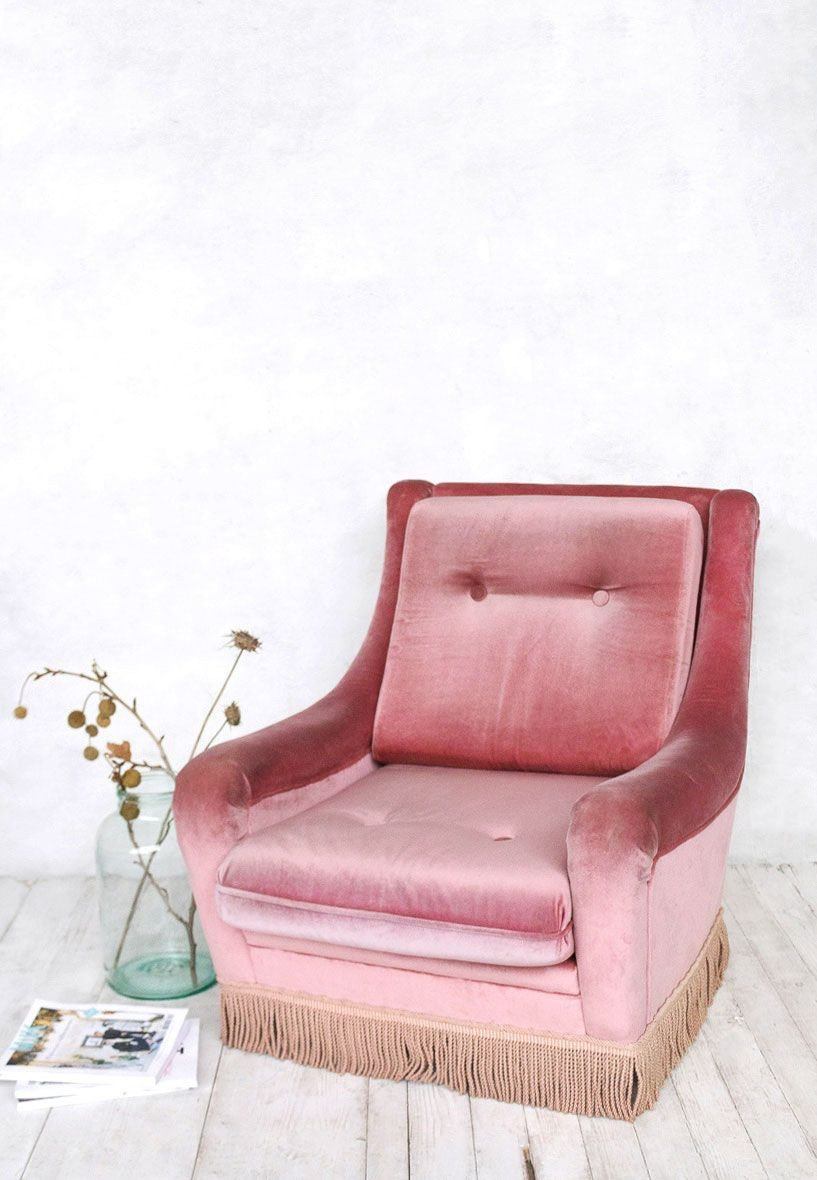 Pink Chair for Bedroom Unique Vintage Pink Velvet Armchair with Fringe at Super Marché