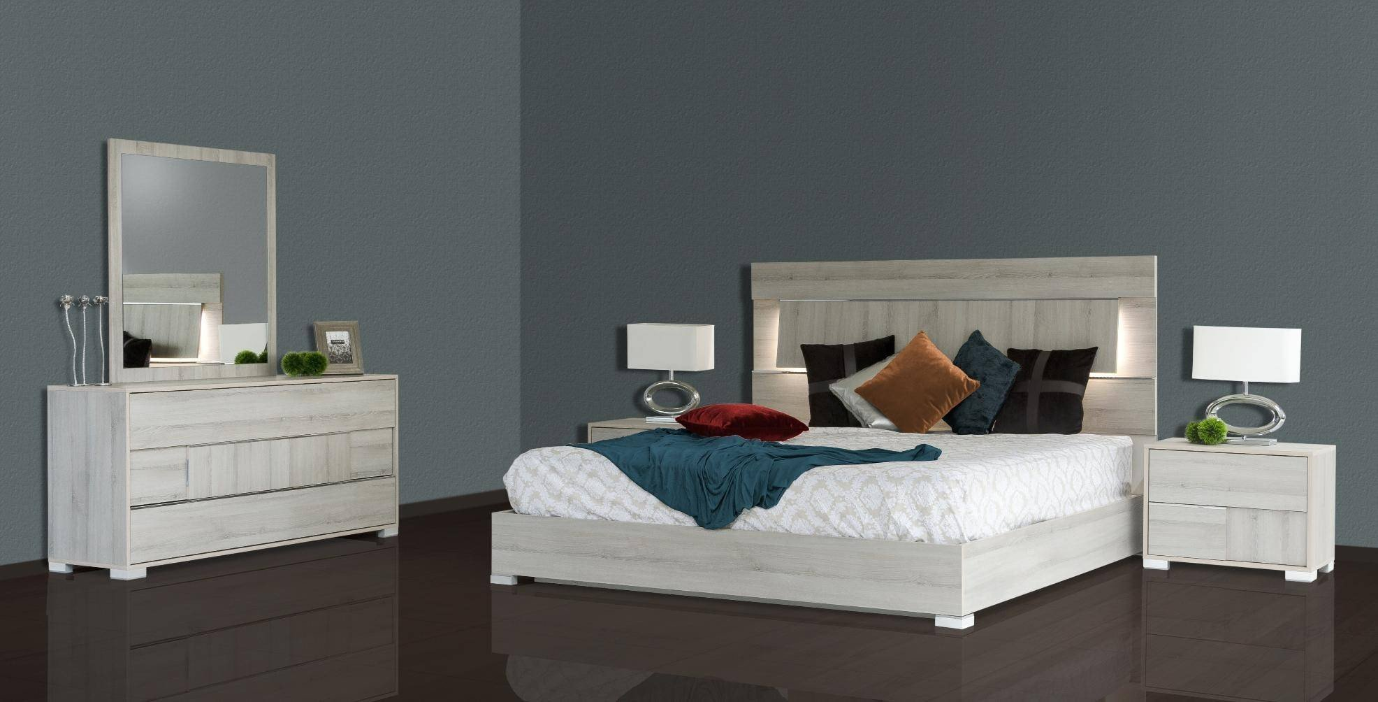 Platform Bedroom Set Queen Awesome Vig Modrest Ethan Grey Veneer Headboard W Led Queen Bedroom