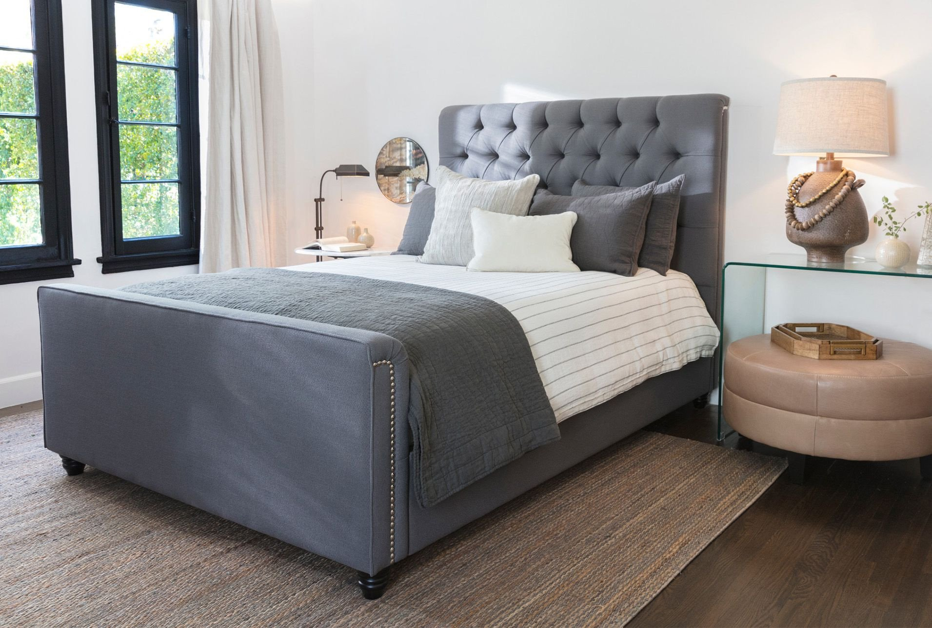 Platform Bedroom Set Queen Elegant Queen Upholstered Panel Bed Leighton Grey $595 In 2020