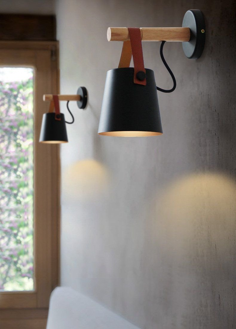 Plug In Wall Lamps for Bedroom Lovely nordic Wood & Leather Sconce In 2019
