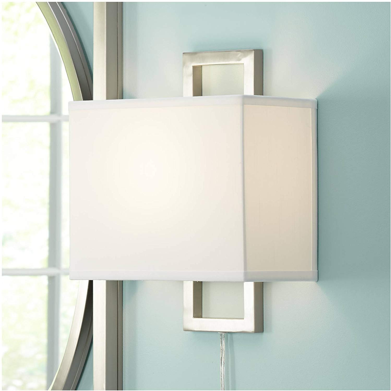 Plug In Wall Lamps for Bedroom Unique Aundria Modern Wall Lamp Plug In Rectangular Brushed Nickel White Shade for Living Room Bedroom Reading Possini Euro Design