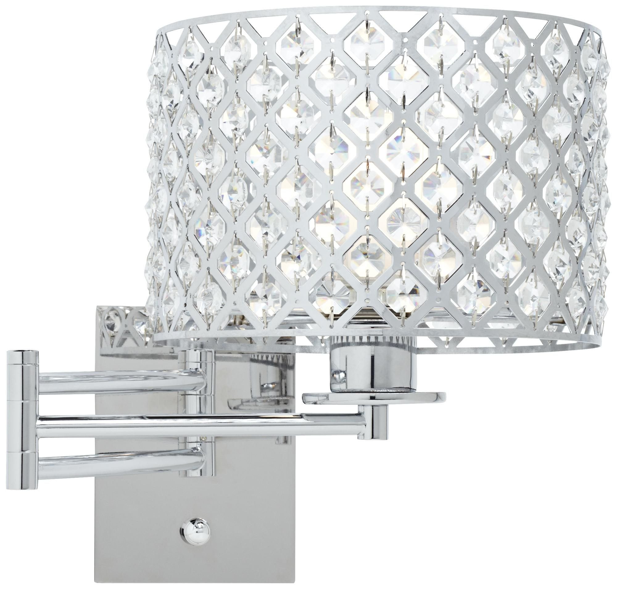 "Plug In Wall Light for Bedroom Awesome Possini Euro Glitz 9"" Wide Plug In Swing Arm Wall Lamp"