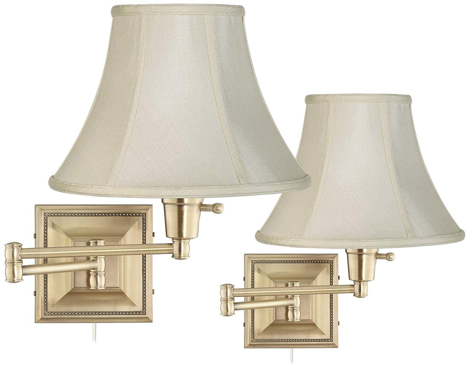 Plug In Wall Light for Bedroom Beautiful Set Of 2 Brass Finish Creme Shade Swing Arm Wall Lamps