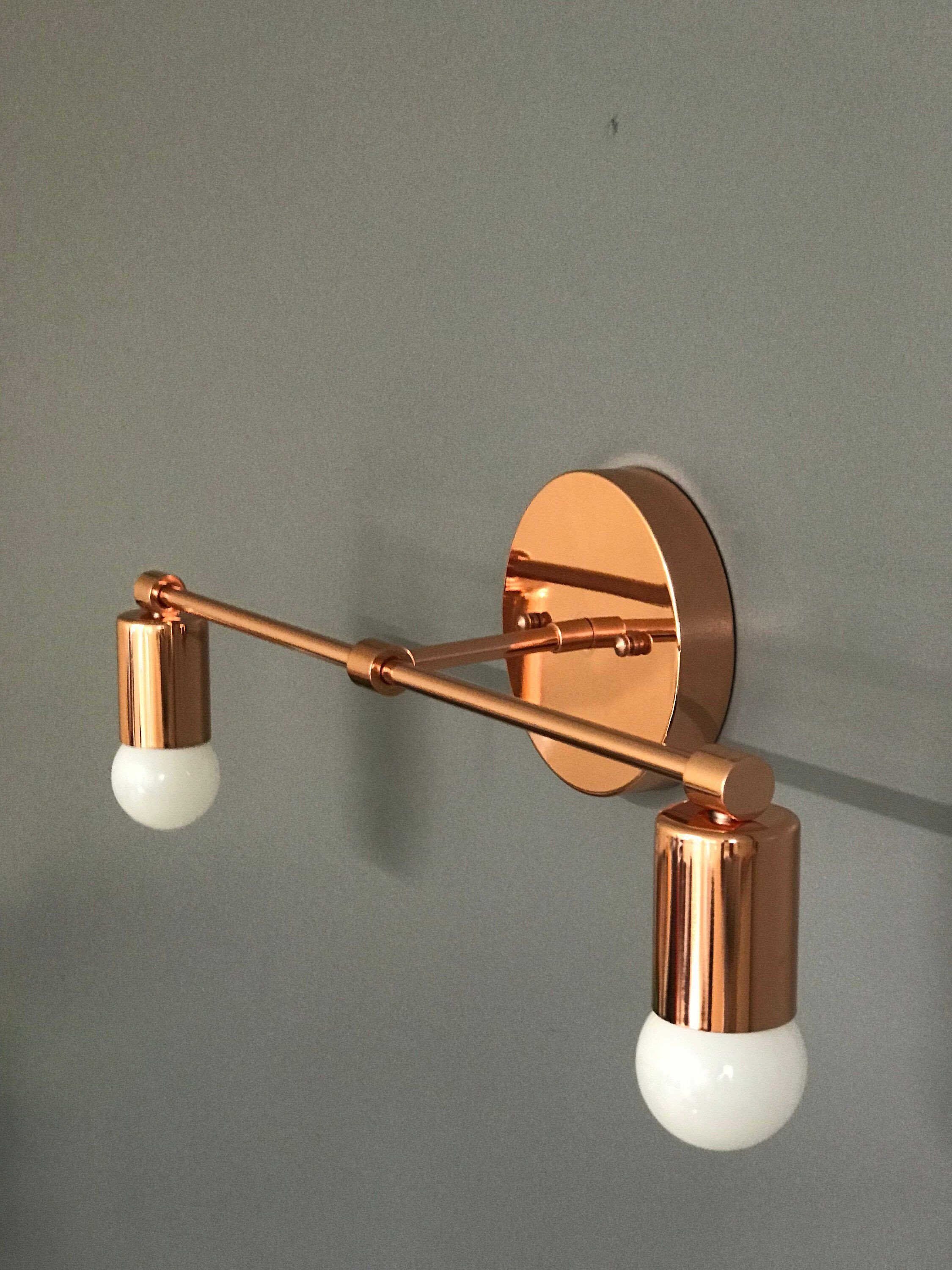 Plug In Wall Light for Bedroom Elegant Polished Copper Wall Sconce 2 Bulb Vanity Light Fixture