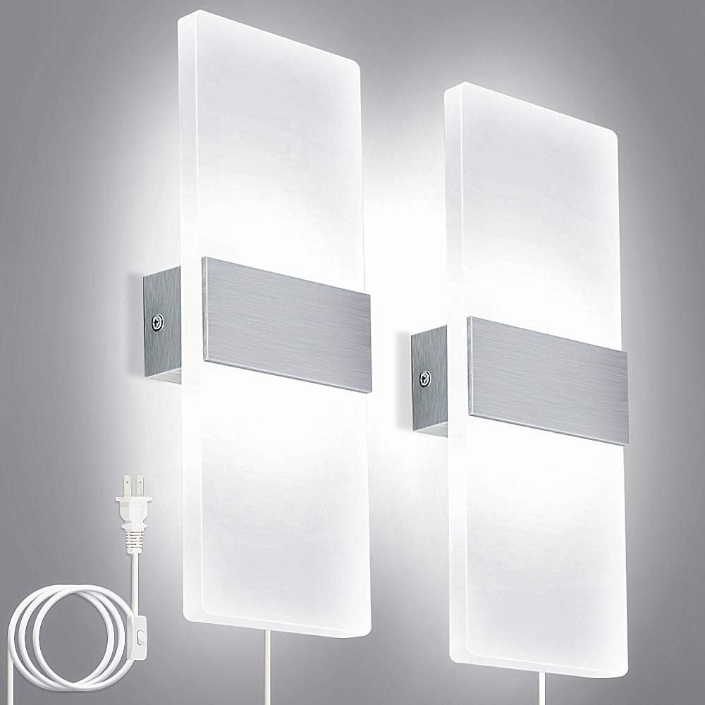 Plug In Wall Light for Bedroom Inspirational Lightess Modern Wall Sconces Plug In 12w Up Down Led Wall Lights Acrylic Wall Lamp for Living Room Bedroom Corridor Cool White Set Of 2