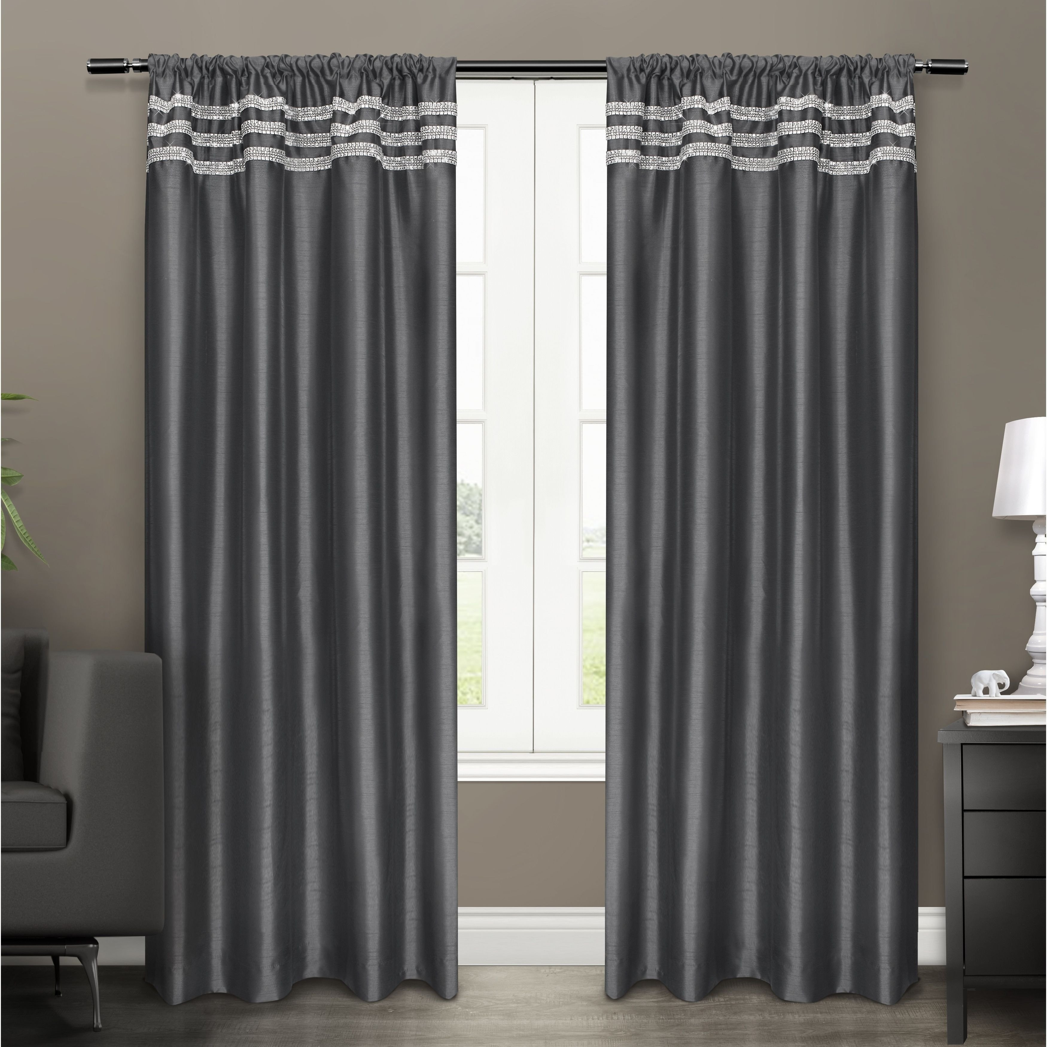 Plum Curtains for Bedroom Best Of ati Home Bling Embellished Rod Pocket top Curtain Panel Pair