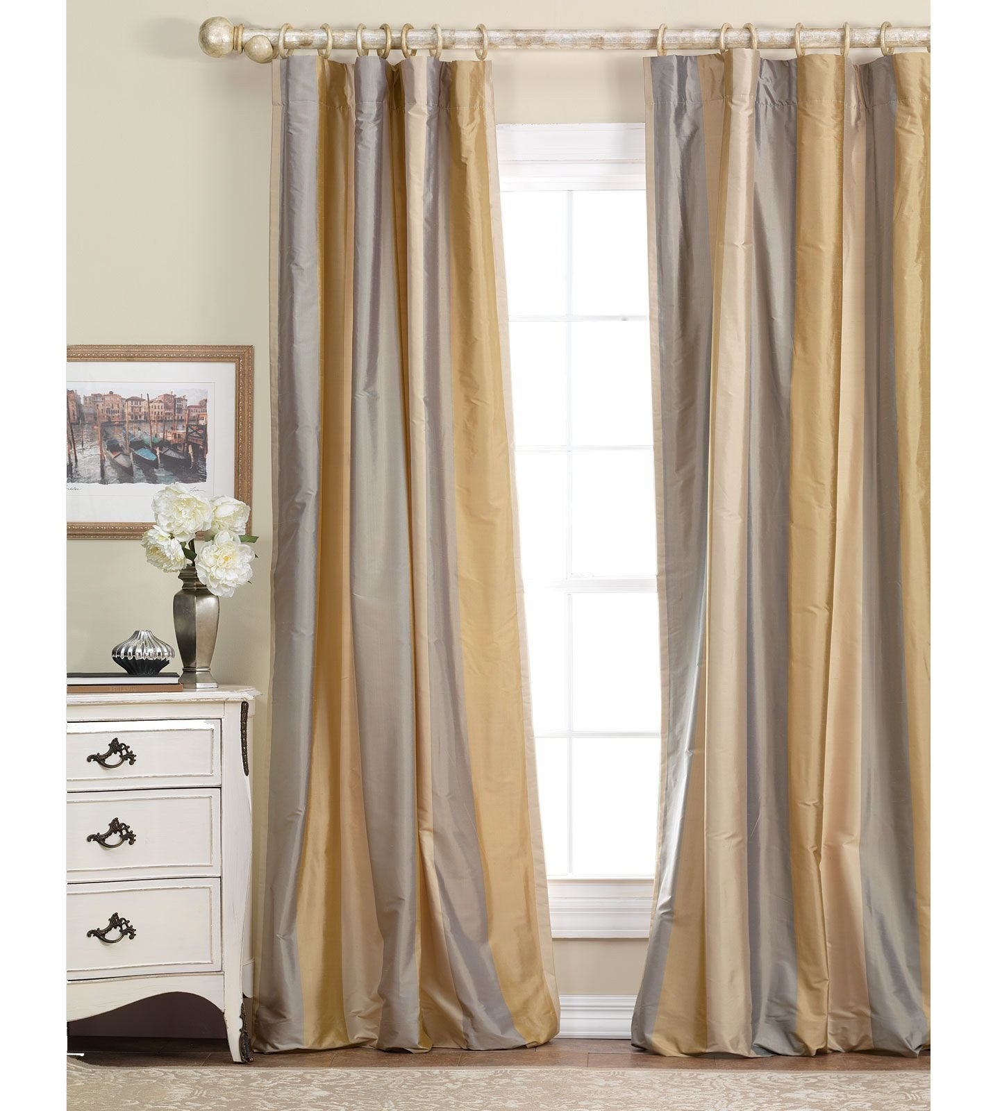 Pretty Curtains for Bedroom Elegant Gold and Gray Silk Curtains