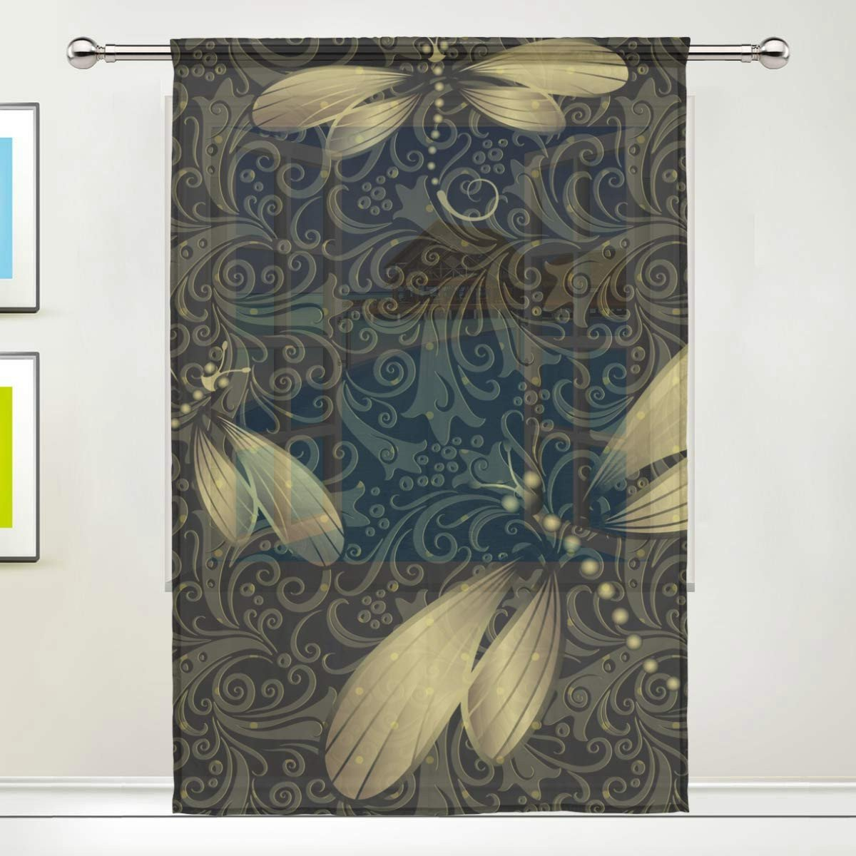 "Pretty Curtains for Bedroom Luxury Dragon Sword Black Golden Vintage Dragonfly Sheer Window Curtain Voile Drape for Kitchen Living Room or Kids Bedroom 55"" W X 84"" L 1 Panel"