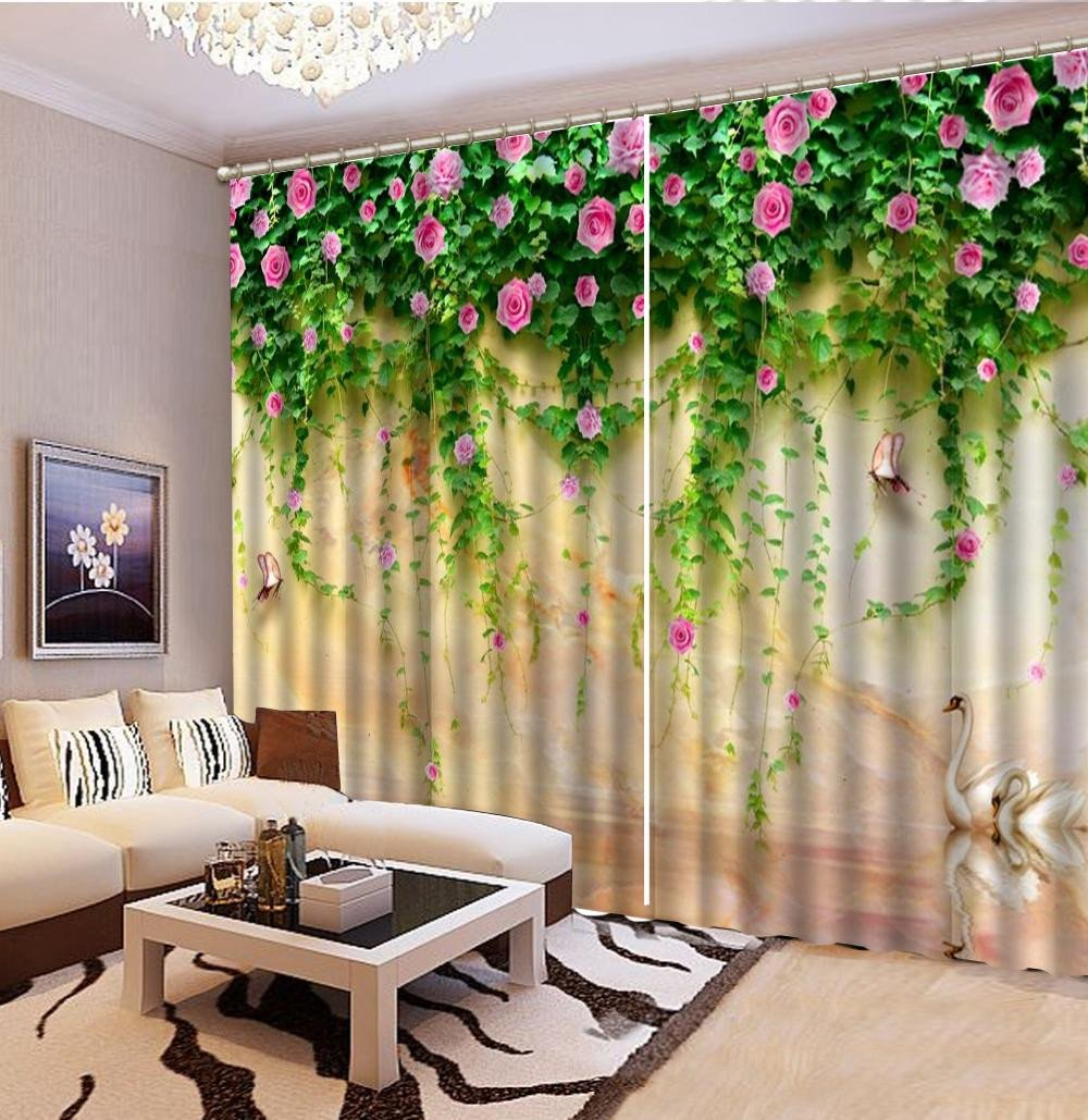Pretty Curtains for Bedroom Unique 2019 Curtain Beautiful Swan Lake Pink Rose Growing In Pieces 3d Scenery Curtains Beautiful and fortable Blackout Curtains From Yunlin188 $194 98