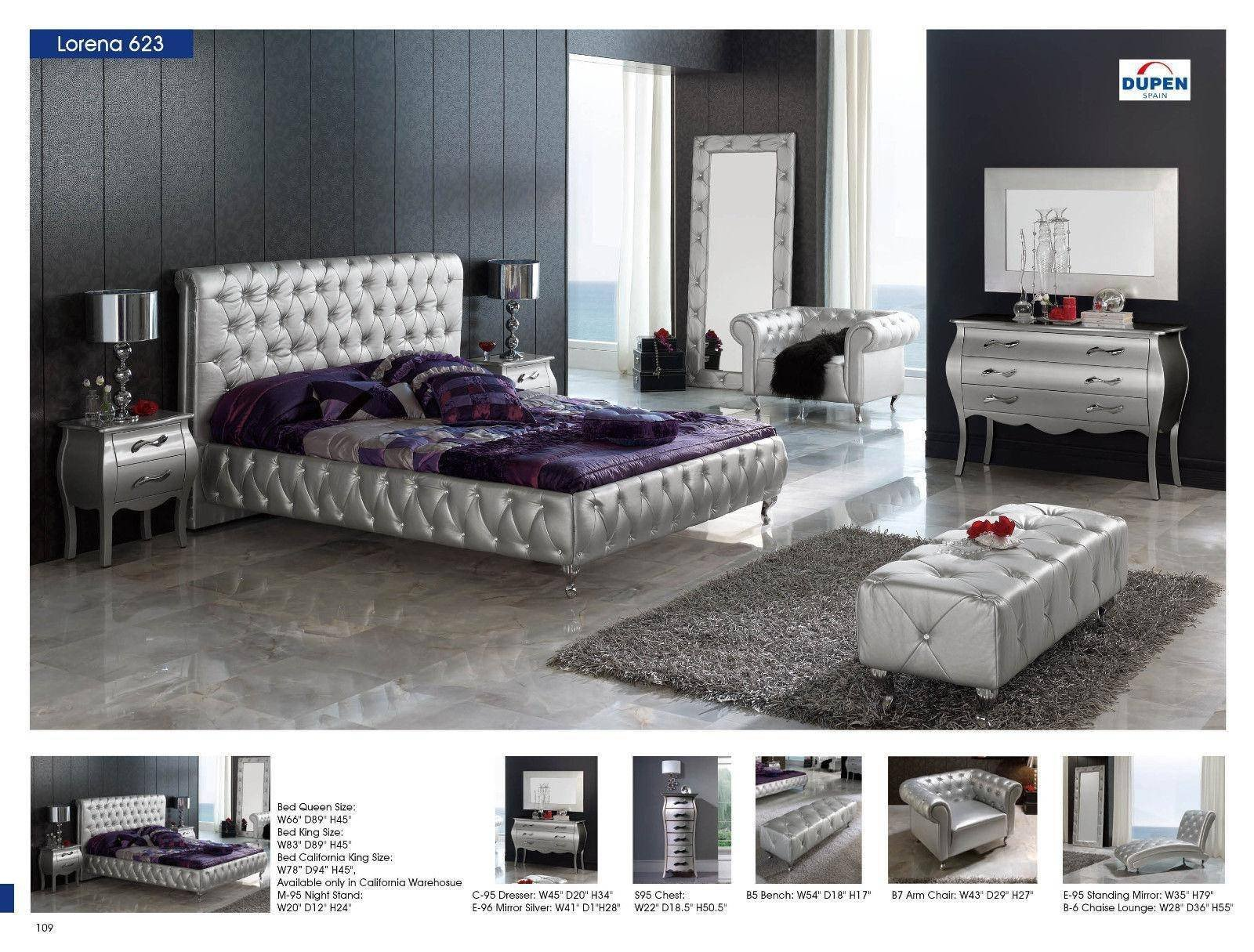 Purple and Silver Bedroom Inspirational Esf 623 Lorena Silver button Tufted Queen Bedroom Set 3