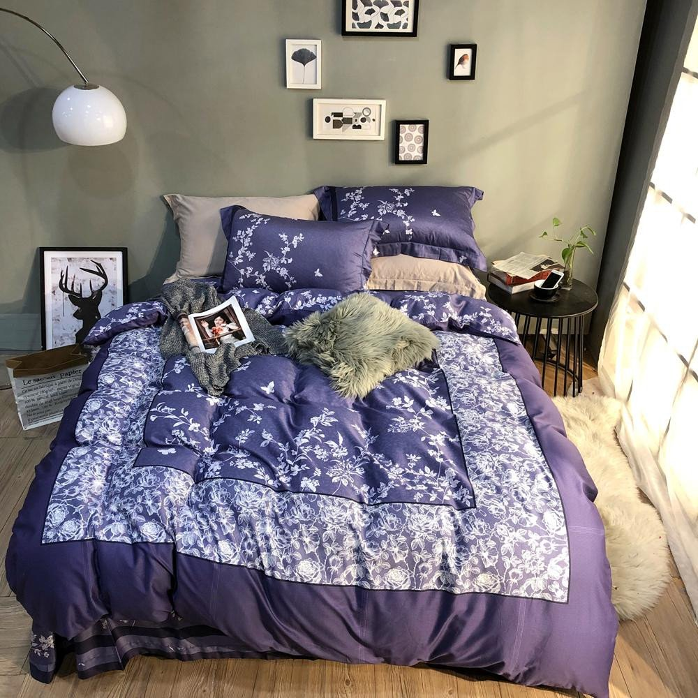 Purple and Silver Bedroom Lovely 2018 Plaid White Flowers Purple Duvet Cover Set Egyptian Cotton Bed Cover Queen King Size Bedlinens Pillowcases Sheet Bedroom forters Retro Bedding