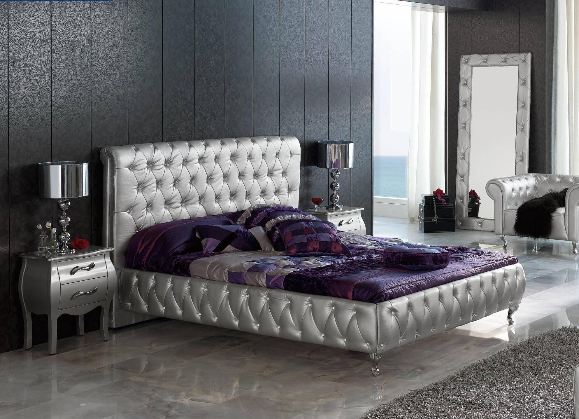 Purple and Silver Bedroom Unique Esf 623 Lorena Silver button Tufted Queen Bedroom Set 3