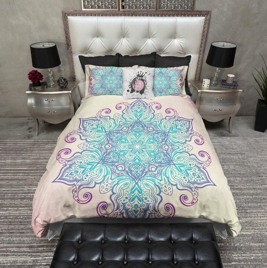 Purple and Teal Bedroom Fresh Boho Blue and Purple Mandala Bedding In 2019