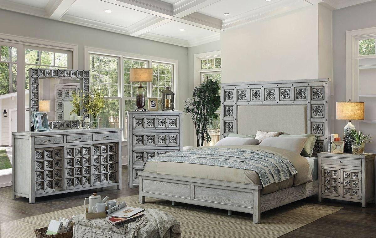 Queen Bedroom Furniture Set Unique Antique Light Gray Queen Bedroom Set 5pcs Pantaleon by