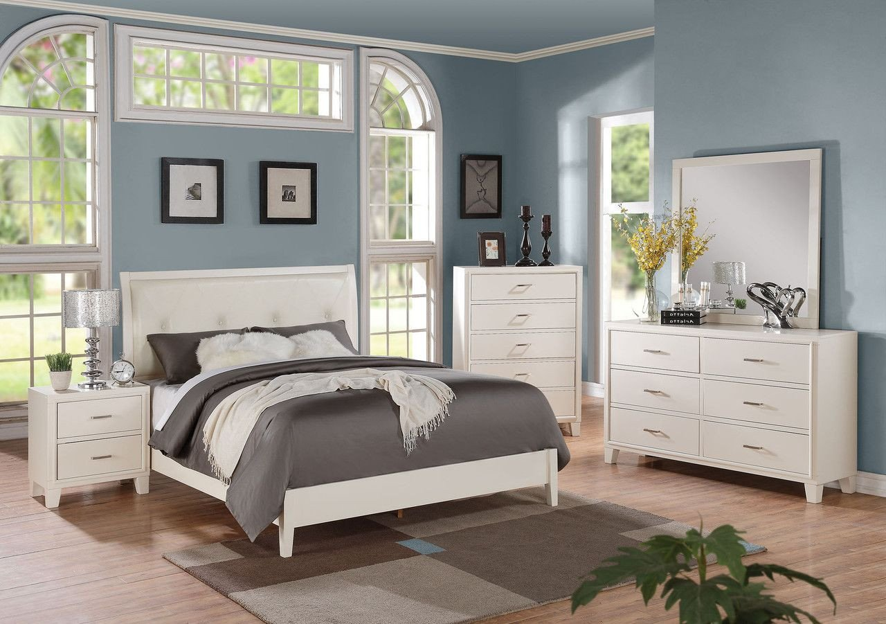 Queen Bedroom Set White Elegant Acme Tyler White 4 Pcs Queen Bedroom Sets for $873