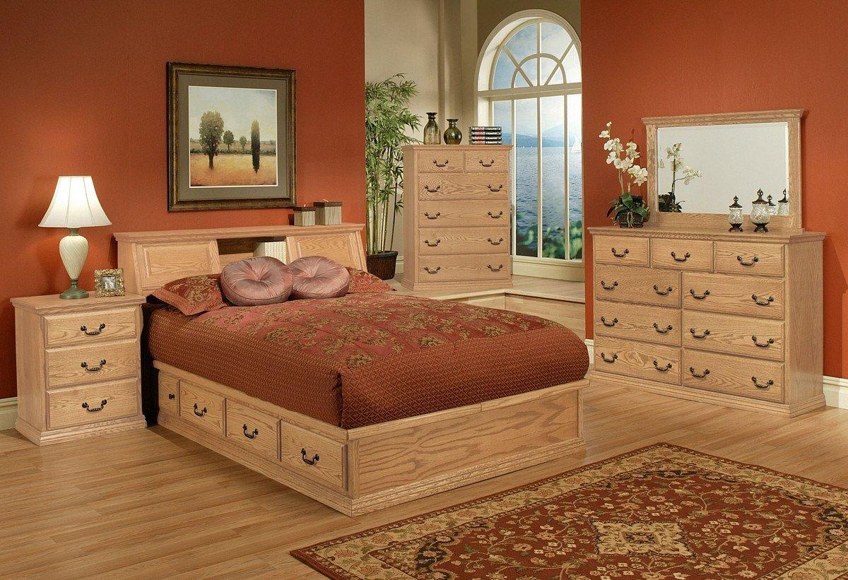 Queen Bedroom Set with Storage Drawers New Traditional Oak Platform Bedroom Suite Queen Size