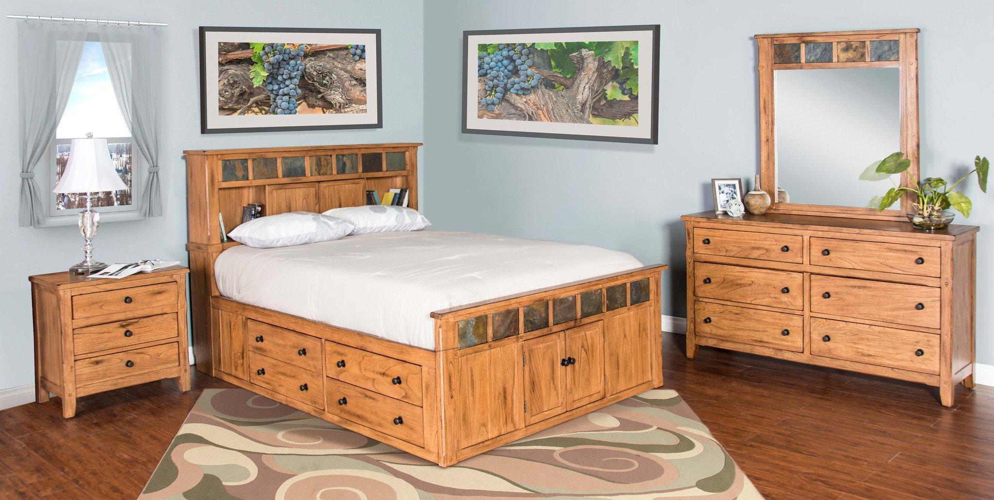Queen Bedroom Set with Storage Drawers Unique Sedona Rustic Petite Storage Bedroom Suite Queen Size