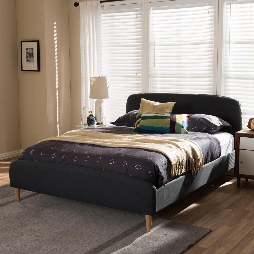 Queen Platform Bedroom Set Luxury Mia Mid Century Dark Gray Fabric Upholstered Queen Size Bed