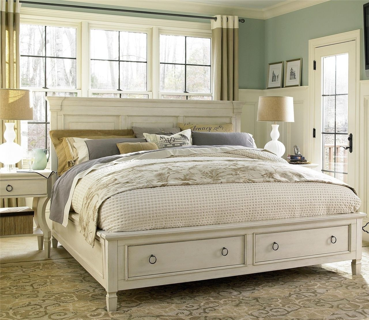 Queen Size Bedroom Suit New Country Chic Wood King Size White Storage Bed