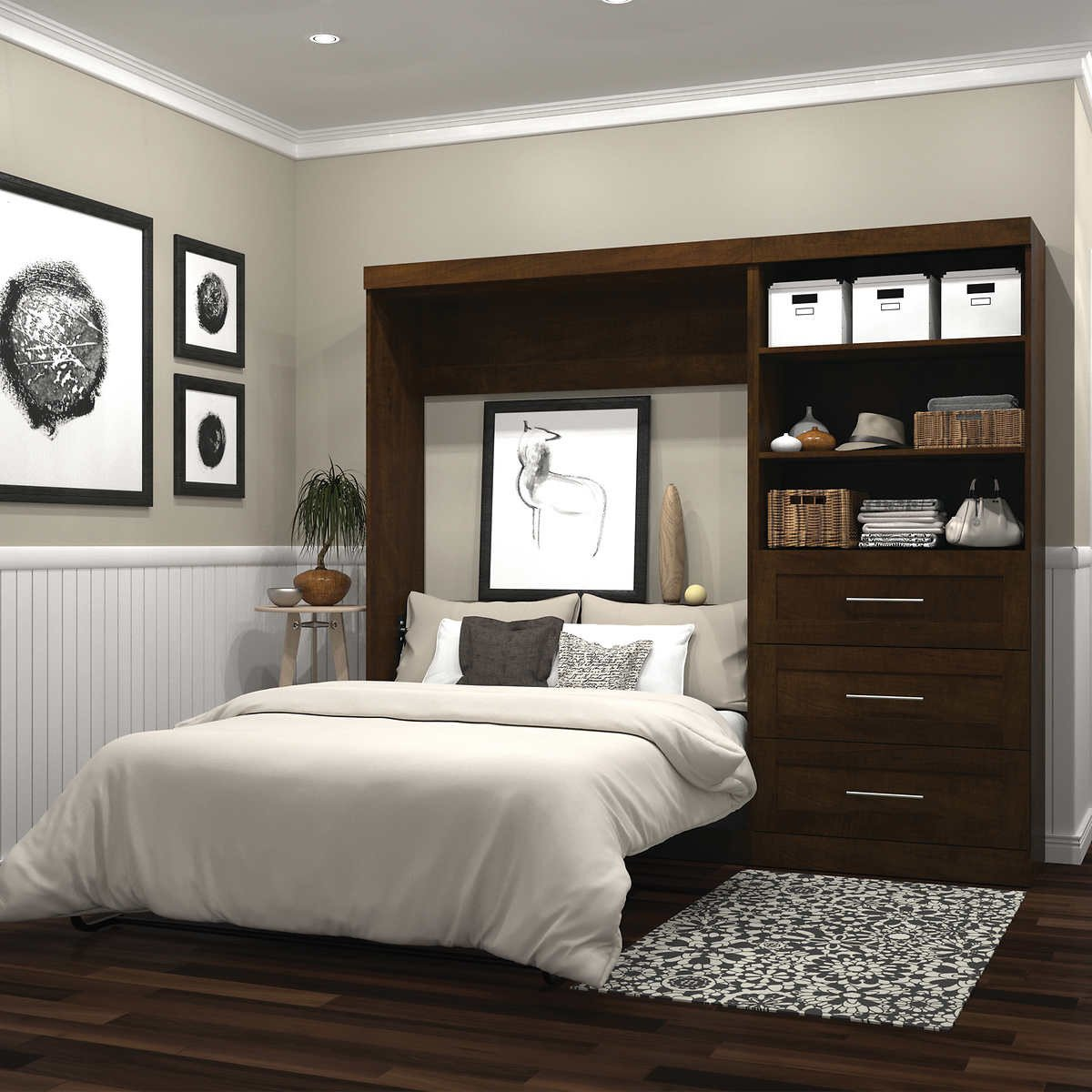 "Queen Size Bedroom Suit Unique Boutique Full Wall Bed with 36"" Storage Unit In Brown"