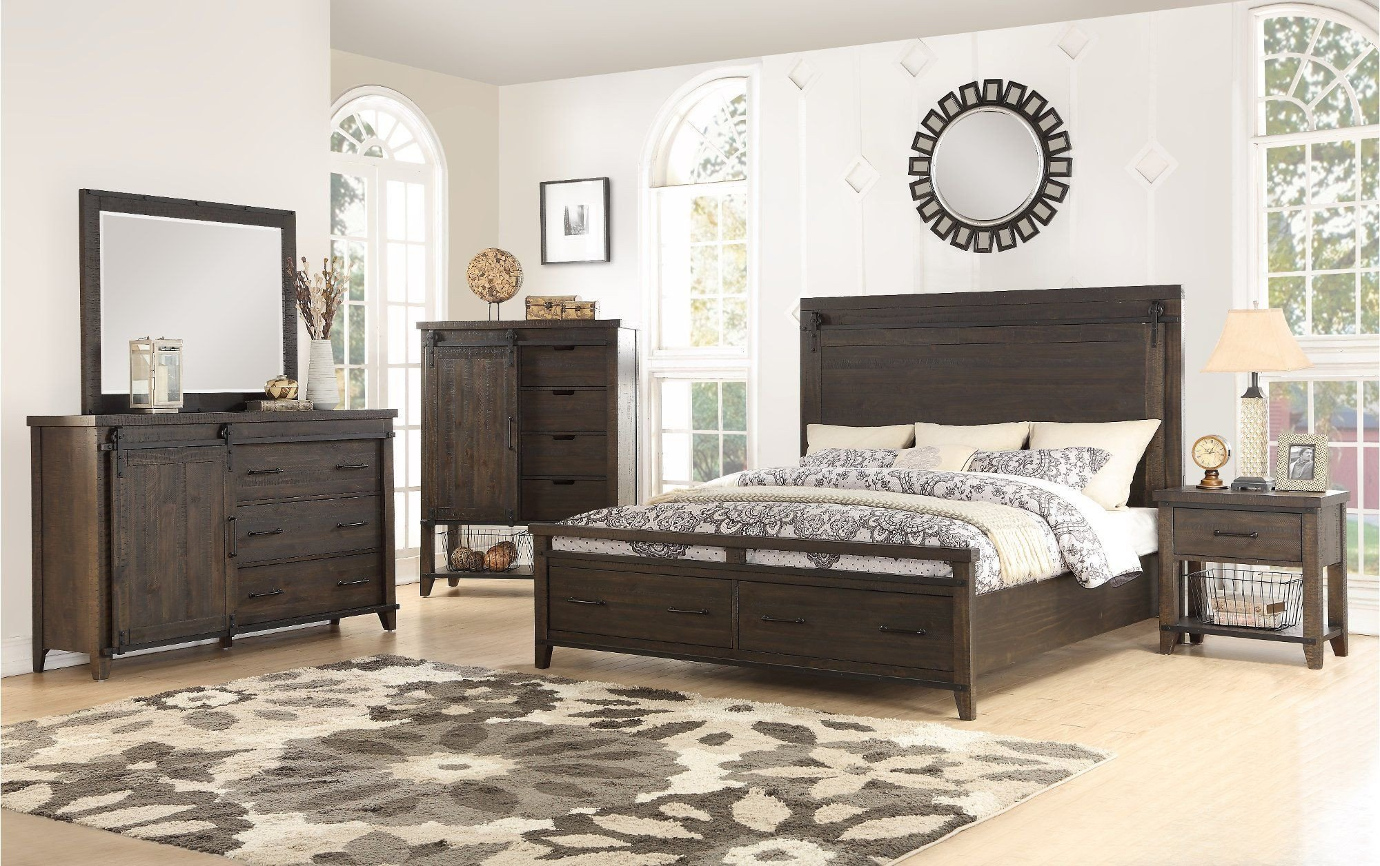 Queen Size Bedroom Suite Elegant Rustic Contemporary Brown 4 Piece King Bedroom Set Montana