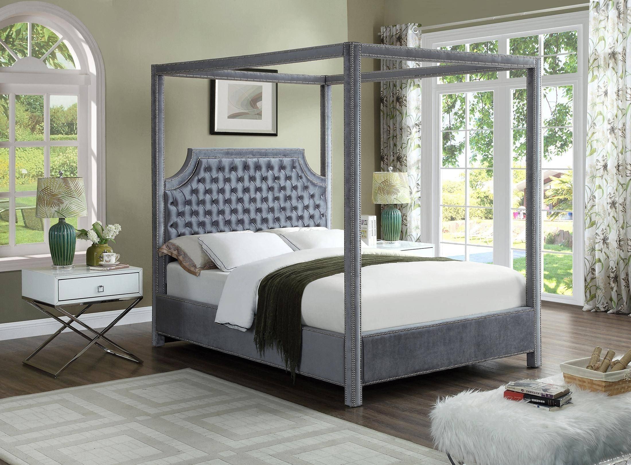 Queen Size Canopy Bedroom Set Beautiful Meridian Furniture Rowan Grey Velvet Queen Canopy Bed