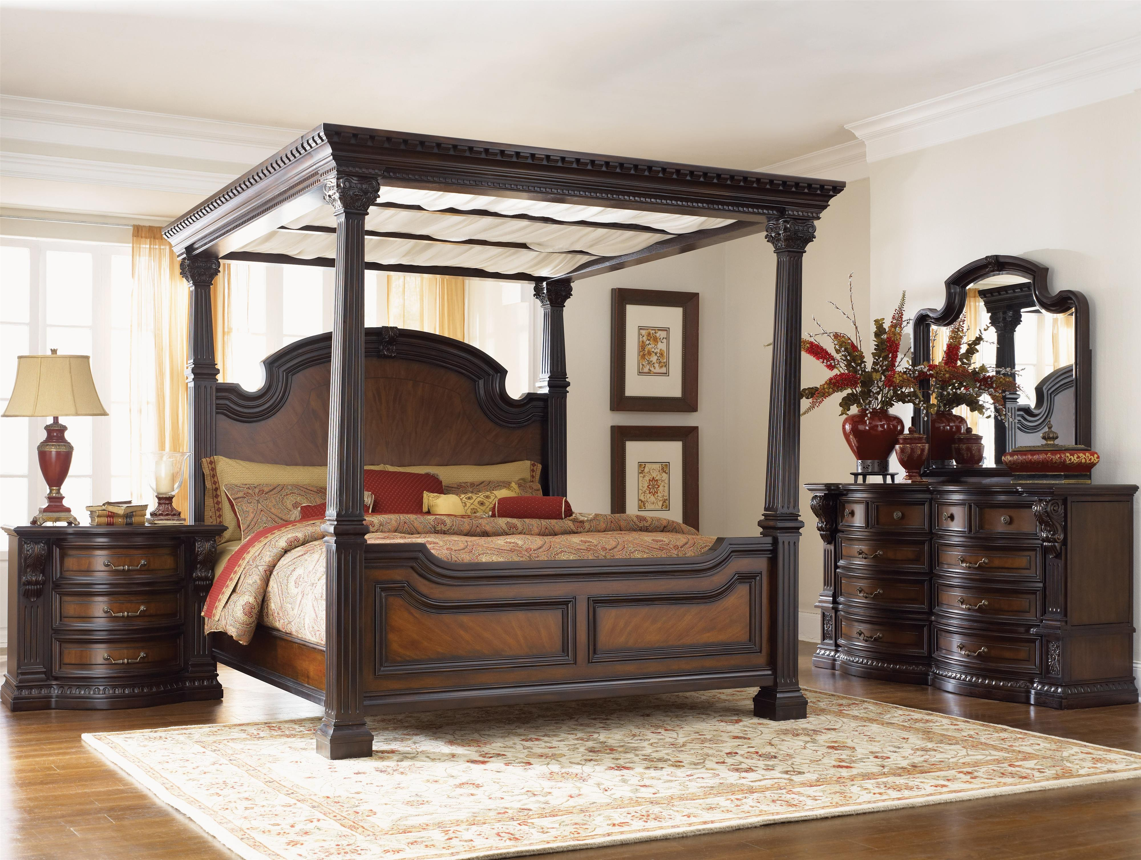 Queen Size Canopy Bedroom Set Luxury Grand Estates 02 by Fairmont Designs Royal Furniture