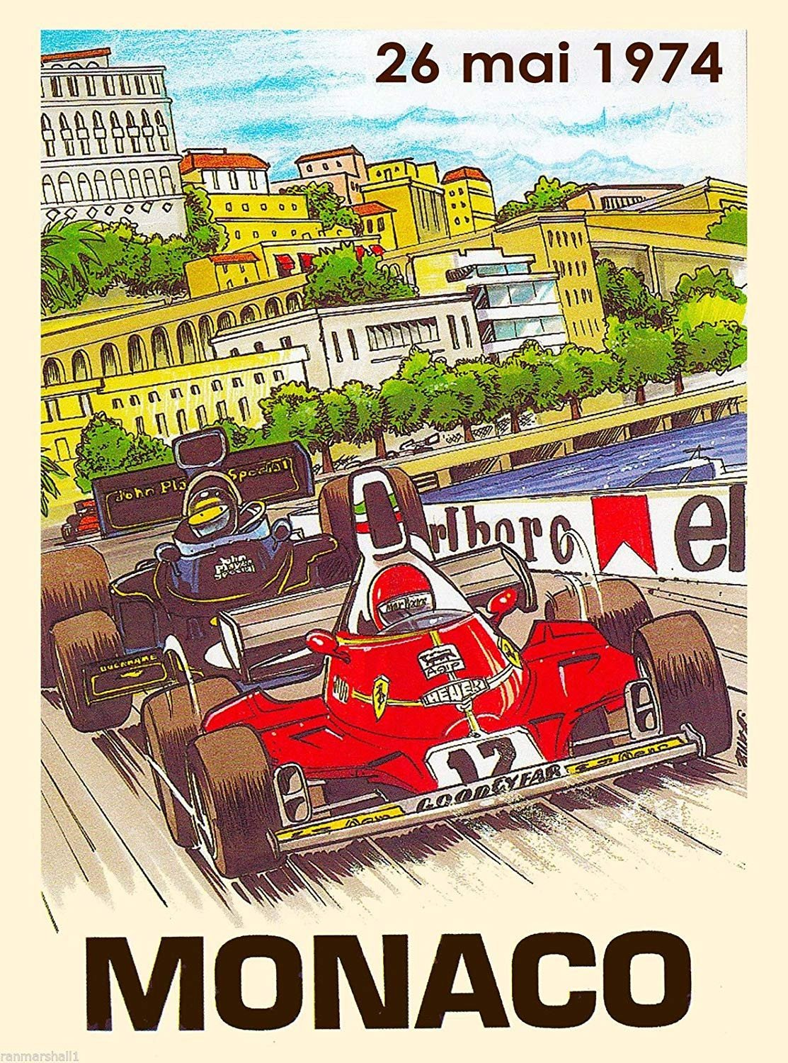 Race Car Bedroom Decor Beautiful A Slice In Time 1974 Monaco Grand Prix Automobile Race Car Travel Advertisement Vintage Collectible Wall Decor Poster Print Measures 10 X 13 5 Inches