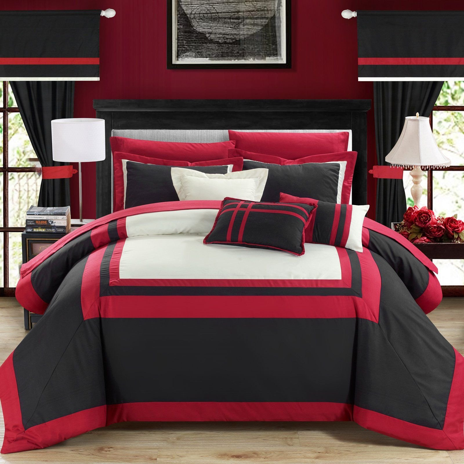 Red and Black Bedroom Set New Christofle 20 Piece Room In A Bag by Chic Home Black