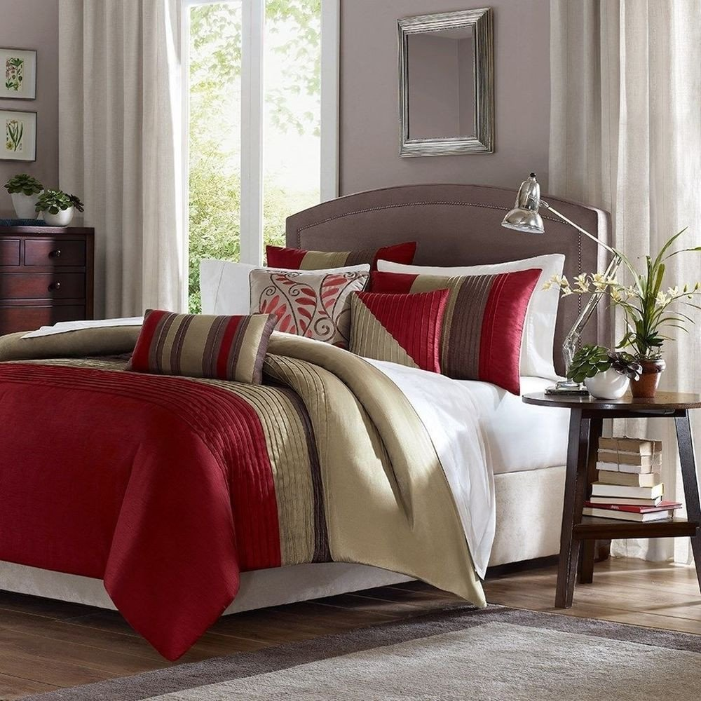 Red and Brown Bedroom Elegant Luxury 6pc Red Tan Brown Duvet Cover Bedding Set and
