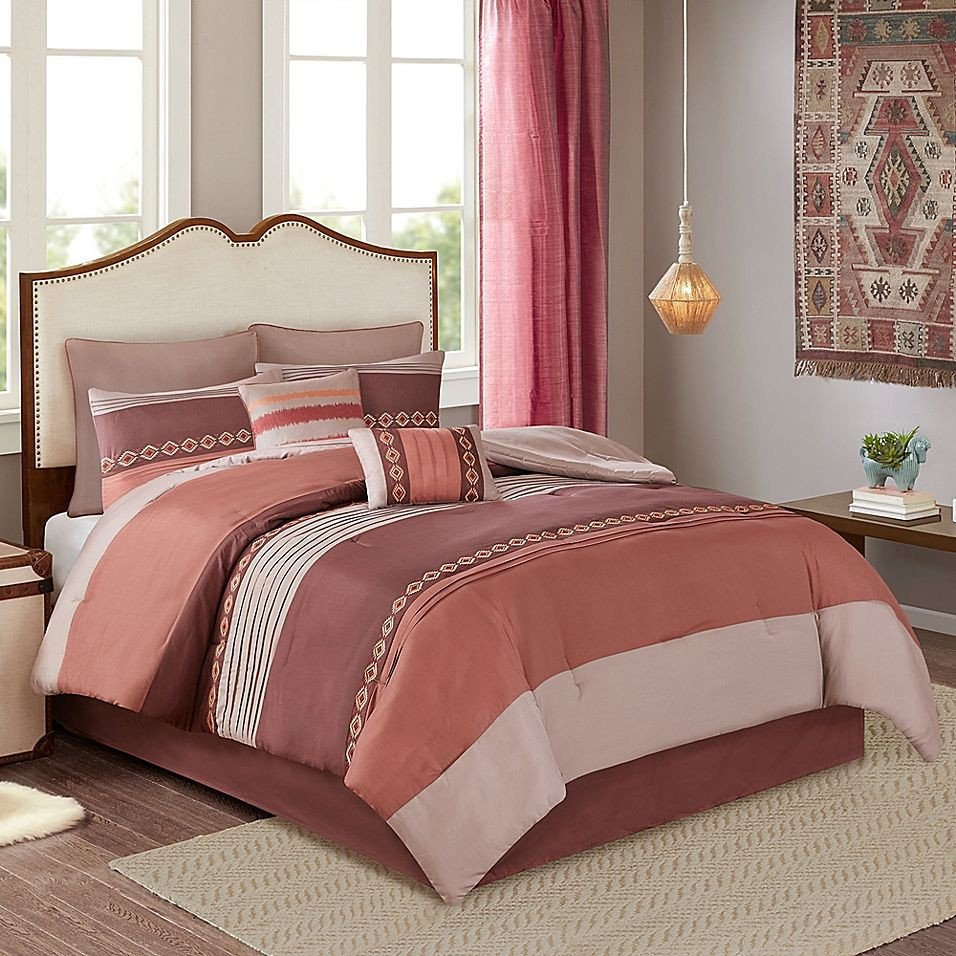Red and Brown Bedroom Fresh Rainer 8 Piece California King forter Set In Red