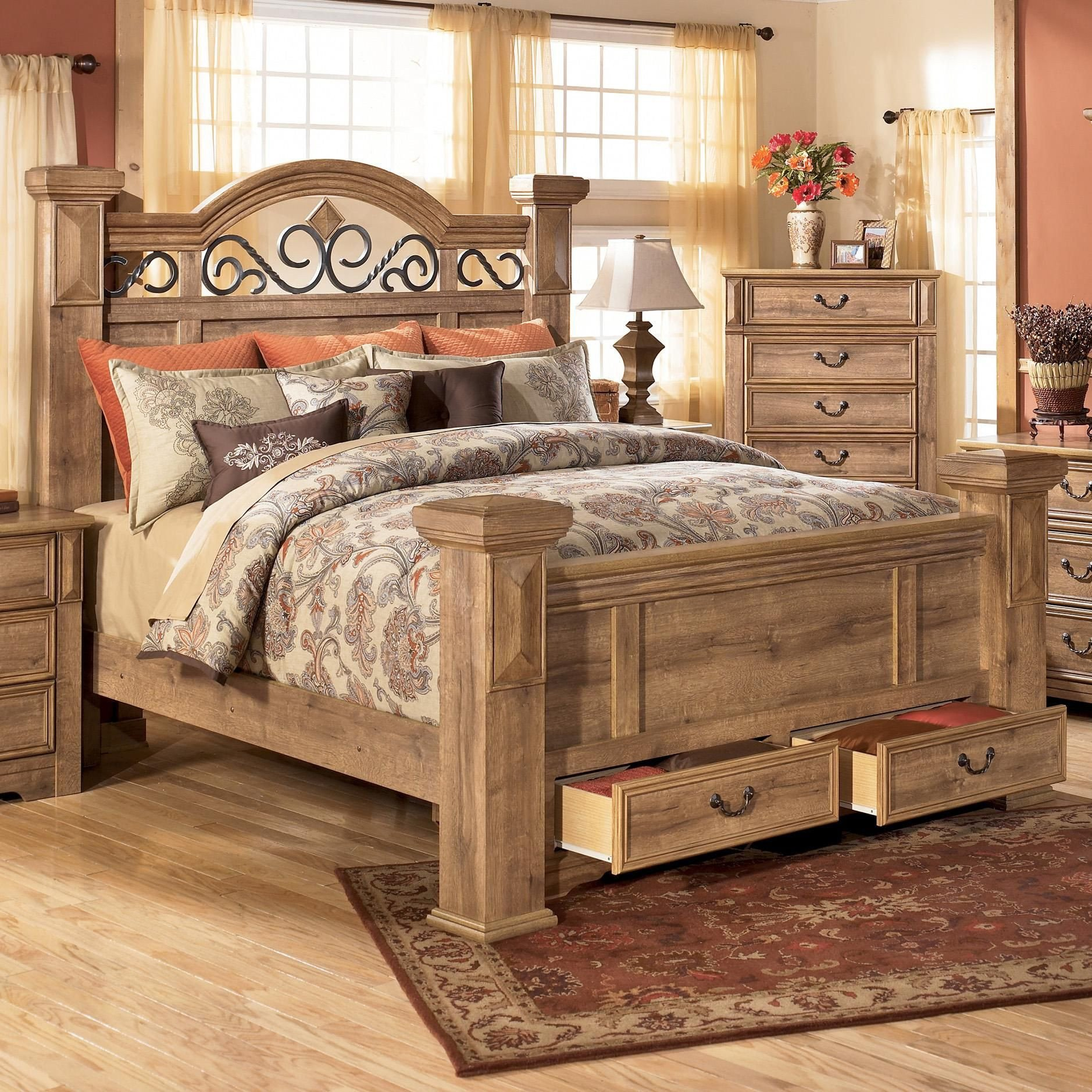Regency Furniture Bedroom Set New Whimbrel forge King Poster Storage Bed by Signature Design