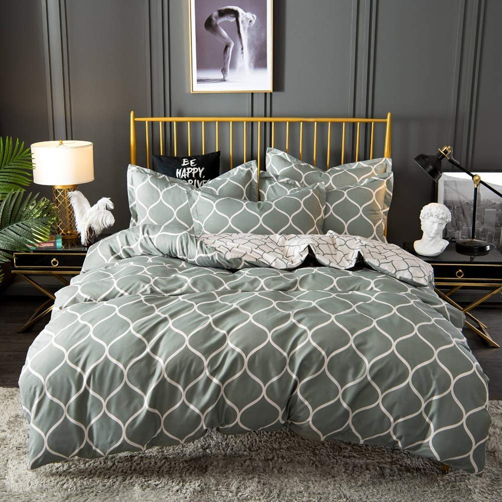 Rooms to Go Bedroom Set King Beautiful Move Over Duvet Cover Set with Zipper Grey Bedding Grey Ivory Geometric Trellis Chain Reversible Design Microfiber Quilt Cover King 104x90 1 Duvet