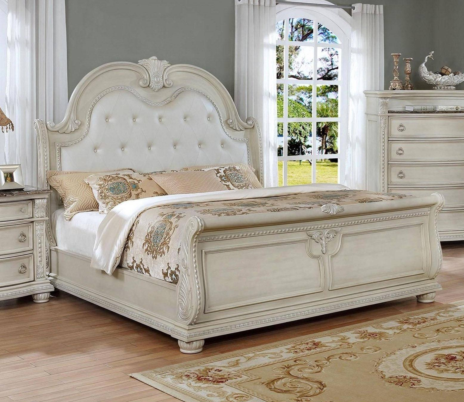 Rooms to Go Bedroom Set King Elegant Crown Mark B1630 Stanley Antique White solid Wood King