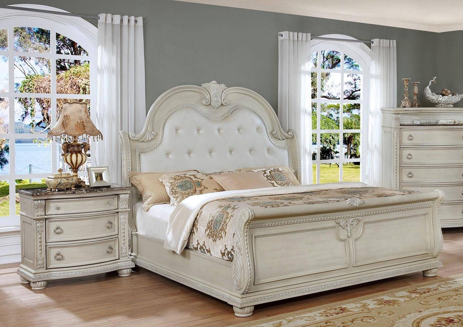 Rooms to Go Bedroom Set King Luxury Crown Mark B1630 Stanley Antique White solid Wood King