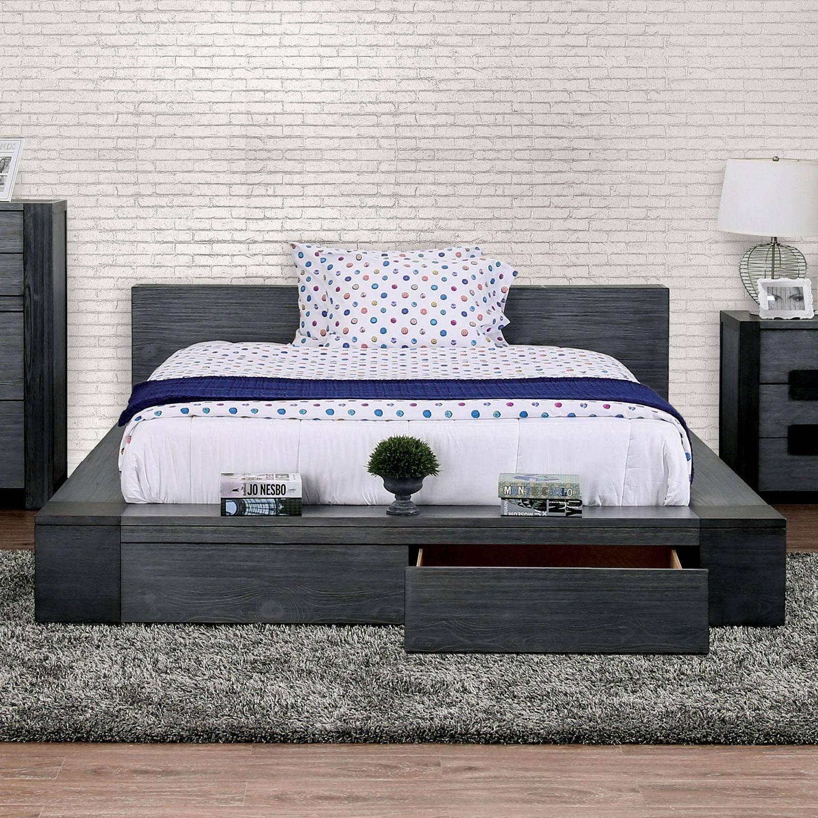 Rooms to Go White Bedroom Set Luxury Rustic Gray Finish Queen Storage Bedroom Set 5pcs Janeiro