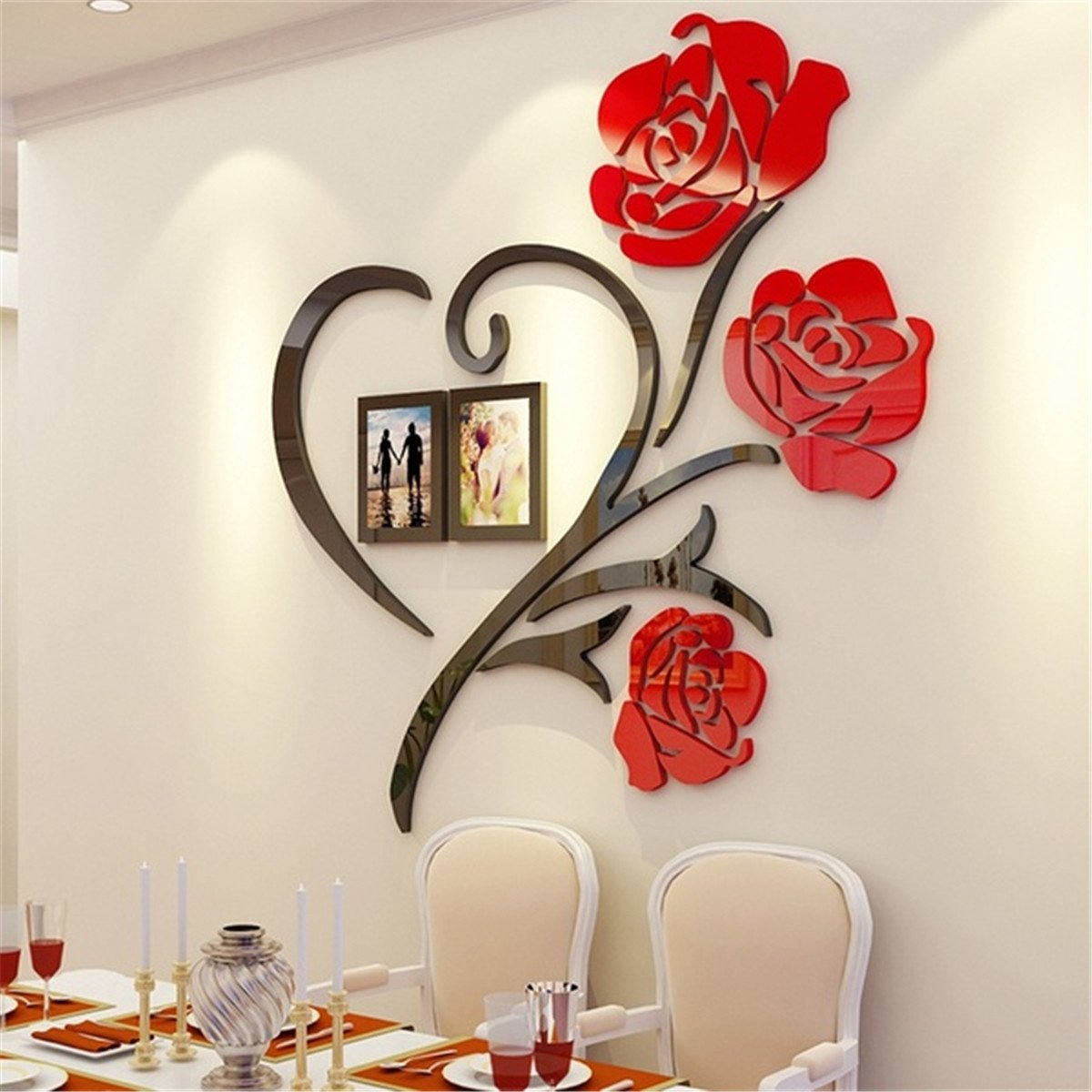 Rose Decorations for Bedroom Awesome Details About 3d Acrylic Wall Sticker Love Rose Frame Art Decor Living Room Home Decal