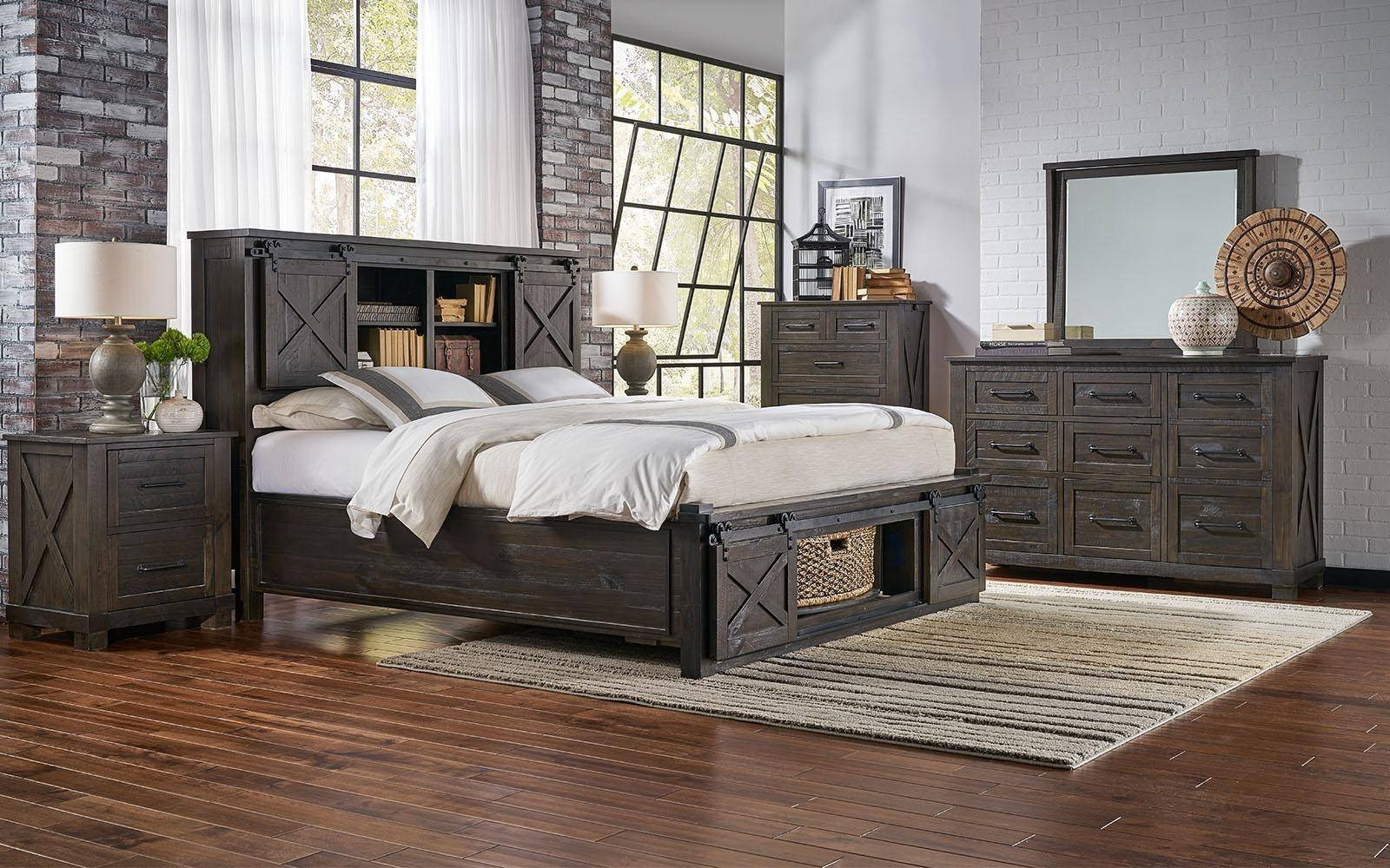 Rustic Pine Bedroom Furniture Lovely Rustic Queen Rotating Storage Bedroom Set 5pcs Suvcl5032 A